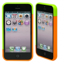 "Бампер для iPhone 5/5s ""Candy colors - lime/orange"""
