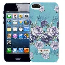 "Чехол для iPhone 5/5s ""Flowers"" (голубой)"