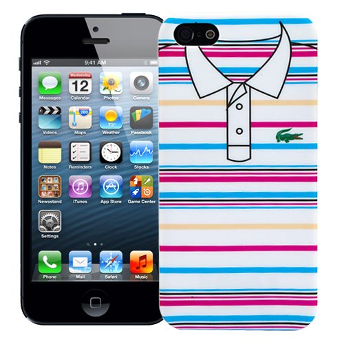 "Чехол для iPhone 5/5s Lacoste ""Blue and pink stripes"""
